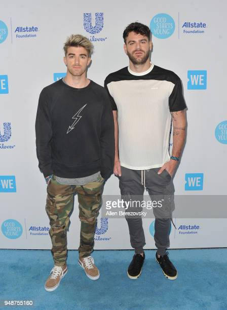 Alex Pall and Andrew Taggart of The Chainsmokers attend WE Day California at The Forum on April 19 2018 in Inglewood California