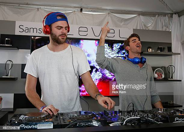Alex Pall and Andrew Taggart of The Chainsmokers give festivalgoers a surprise performance at the Samsung Level Stage inside the Galaxy Owners Lounge...