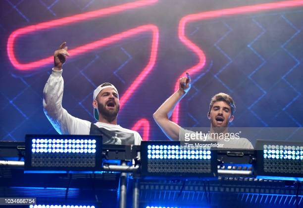 Alex Pall and Andrew Taggart of The Chainsmokers perform during the 2018 Grandoozy Festival at Overland Park Golf Course on September 16 2018 in...