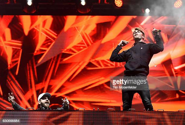 Alex Pall and Andrew Taggart of The Chainsmokers perform during the 2016 SnowGlobe Music Festival on December 29 2016 in South Lake Tahoe California
