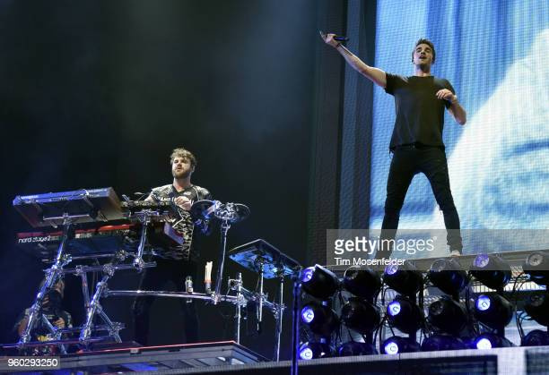 Alex Pall and Andrew Taggart of The Chainsmokers perform during the 2018 Hangout Festival on May 19 2018 in Gulf Shores Alabama