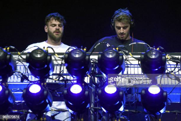 Alex Pall and Andrew Taggart of The Chainsmokers perform during the 2018 BottleRock Napa Valley at Napa Valley Expo on May 25 2018 in Napa California