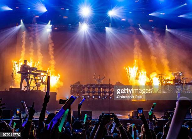 Alex Pall and Andrew Taggart of The Chainsmokers perform live exclusively for American Airlines AAdvantage Mastercard cardmembers at The Wiltern on...