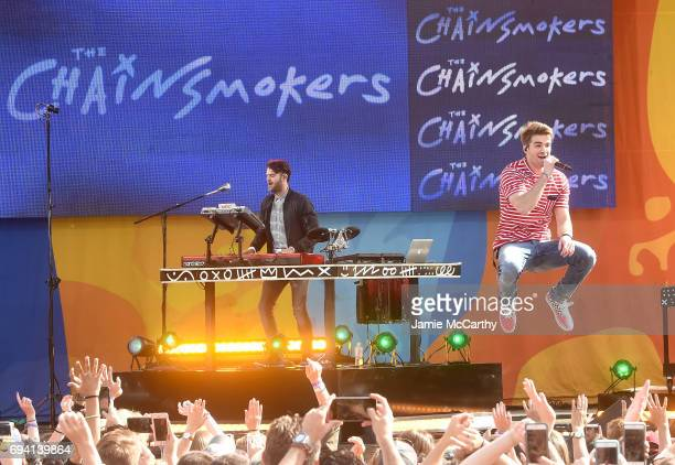 Alex Pall and Andrew Taggart of The Chainsmokers perform on ABC's 'Good Morning America' at SummerStage at Rumsey Playfield Central Park on June 9...