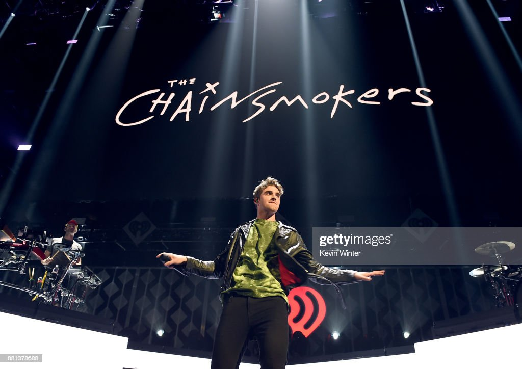 Alex Pall (L) and Andrew Taggart of The Chainsmokers perform onstage at 106.1 KISS FM's Jingle Ball 2017 Presented by Capital One at American Airlines Center on November 28, 2017 in Dallas, Texas.