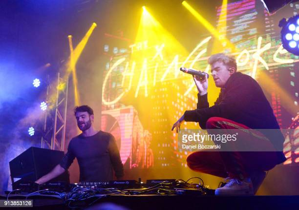 Alex Pall and Andrew Taggart of The Chainsmokers perform onstage at the Fanatics Super Bowl Party on February 3 2018 in Minneapolis Minnesota