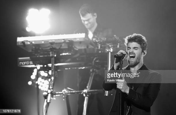 Alex Pall and Andrew Taggart of The Chainsmokers perform onstage during Dick Clark's New Year's Rockin' Eve With Ryan Seacrest 2019 on December 31...