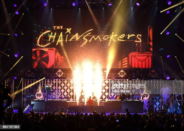 Alex Pall and Andrew Taggart of The Chainsmokers perform onstage during 1027 KIIS FM's Jingle Ball 2017 presented by Capital One at The Forum on...