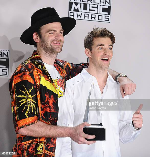 Alex Pall and Andrew Taggart of The Chainsmokers pose in the press room at the 2016 American Music Awards at Microsoft Theater on November 20 2016 in...