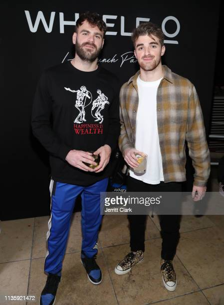 Alex Pall and Drew Taggart of The Chainsmokers attend the Wheels LA Launch at Sunset Tower on March 14 2019 in Los Angeles California