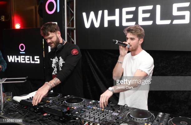 Alex Pall and Drew Taggart of The Chainsmokers perform at the Wheels LA Launch at Sunset Tower on March 14 2019 in Los Angeles California