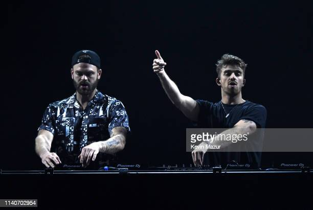 Alex Pall and Drew Taggart of The Chainsmokers perform onstage at the ATT Block Party during the NCAA March Madness Music Series at The Armory on...
