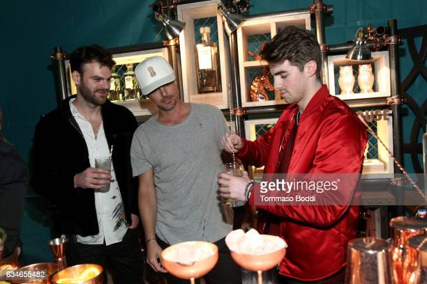 Alex Pall Andrew Taggart of The Chainsmokers and CEO Absolut Elyx Jonas Tahlin attend The Chainsmokers Pre Grammy Turn Up at the Private Residence of...