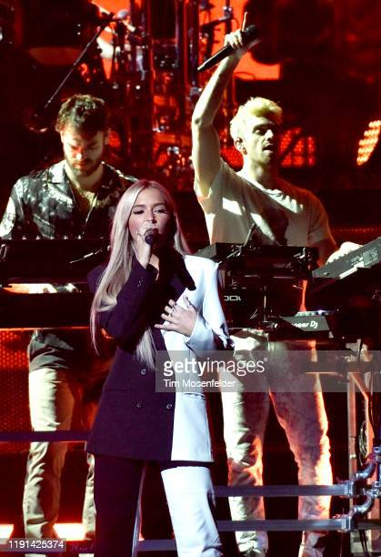 Alex Pall guest Lennon Stella and Drew Taggart of The Chainsmokers perform in support of the duo's World War Joy release at Golden 1 Center on...
