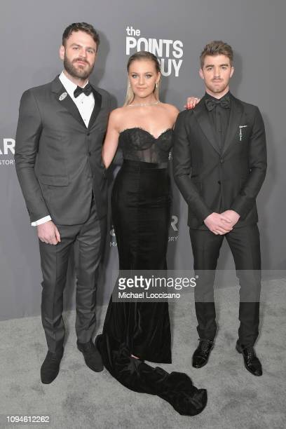 Alex Pall Kelsea Ballerini and Andrew Taggart attend the amfAR New York Gala 2019 at Cipriani Wall Street on February 6 2019 in New York City