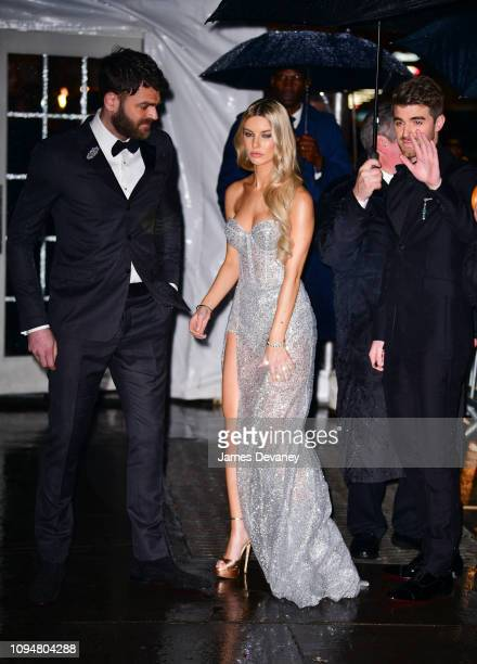 Alex Pall Kelsea Ballerini and Andrew Taggart of The Chainsmokers arrive to the amfAR Gala New York 2019 at Cipriani Wall Street on February 6 2019...