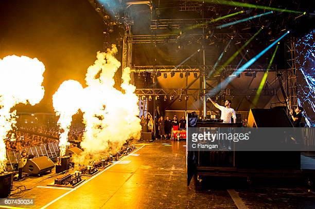 Alex Pall of The Chainsmokers performs on the Grandview Stage during the 2016 KAABOO Del Mar at the Del Mar Fairgrounds on September 17 2016 in Del...