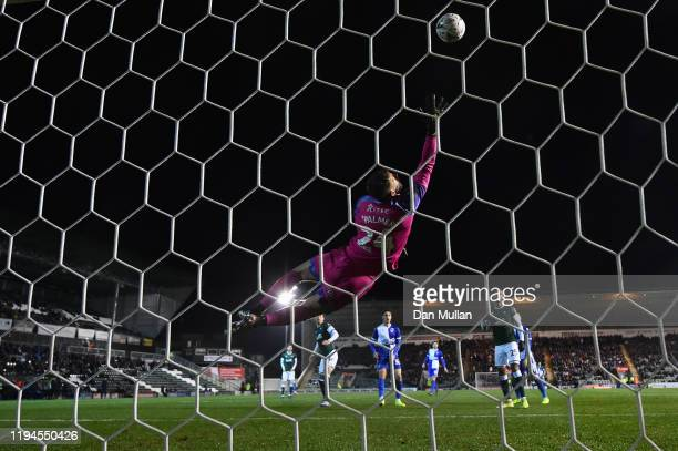Alex Palmer of Plymouth Argyle fails to stop a shot from Alex Rodman of Bristol Rovers for their first goal during the FA Cup Second Round Replay...