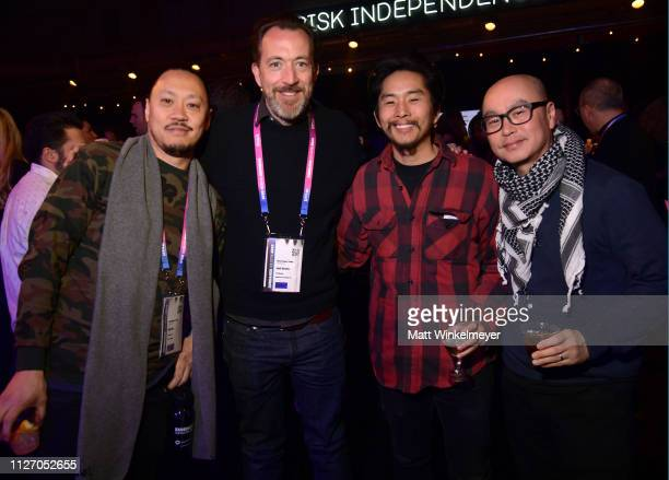 Alex Pao Josh Hetzler Justin Chon and CS Lee attend the 2019 Sundance Film Festival Awards Night Party at Basin Recreation Field House on February 02...