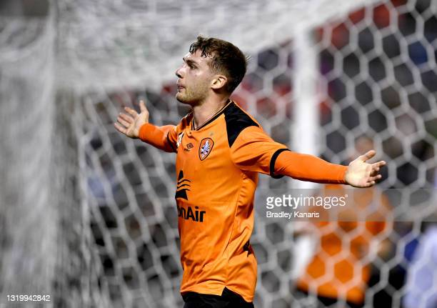 Alex Parsons of the Roar celebrates after scoring a goal during the A-League match between the Brisbane Roar and Melbourne City at Moreton Daily...
