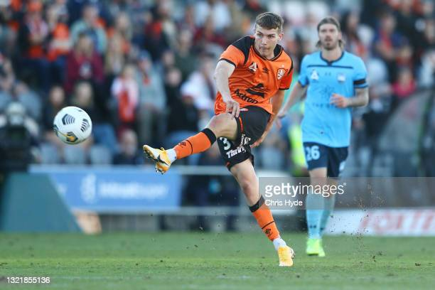 Alex Parsons of the Roar kicks during the A-League match between Brisbane Roar and Sydney FC at Moreton Daily Stadium, on June 05 in Brisbane,...