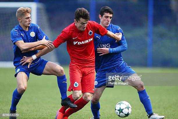 Alex Pascanu and Kiernan DewsburyHall of Leicester City in action with Dennis Van Vaerenbergh of Club Brugge during the UEFA Youth Champions League...