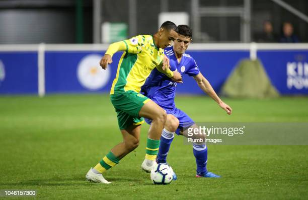 Alex Pascanu of Leicester City in action with Adam Idah of Norwich City during the Premier League Cup tie between Leicester City and Norwich City at...
