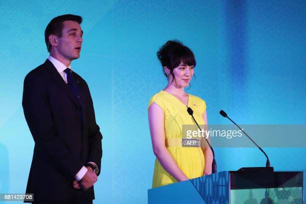Alex Payne of Sky Sports and Selina Sugiyama host the Rugby World Cup 2019 pool draw at the Kyoto State guesthouse in Kyoto on May 10 2017 / AFP...