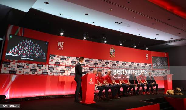 Alex Payne of Sky Sports speaks to the Lions coaching and management team of Graham Rowntree Rob Howley Steve Borthwick Neil Jenkins Andy Farrell...