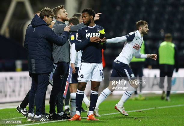 Alex Pearce Club captain and temporary manager of Millwall FC gives his team instructions during the Sky Bet Championship match between Preston North...