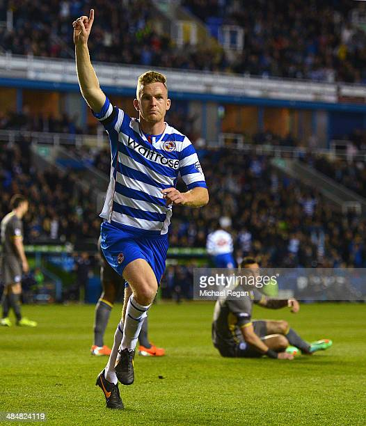 Alex Pearce of Reading celebrates scoring to make it 1-0 during the Sky Bet Championship match between Reading and Leicester City at the Madejski...