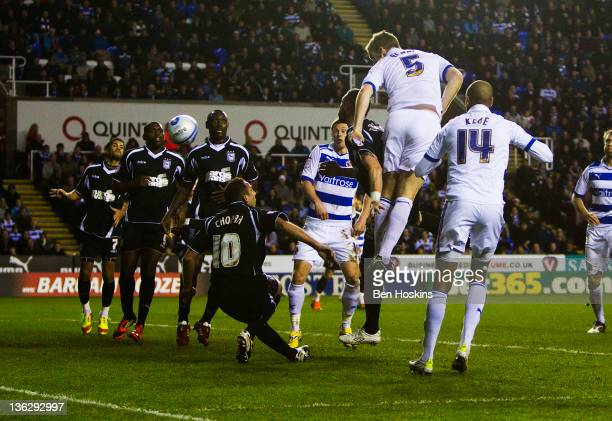 Alex Pearce of Reading scores the opening goal of the game during the npower Championship match between Reading and Ipswich Town at The Madejski...