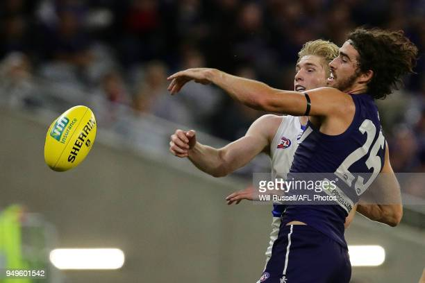 Alex Pearce of the Dockers contests a ruck with Tim English of the Bulldogs during the round five AFL match between the Fremantle Dockers and the...