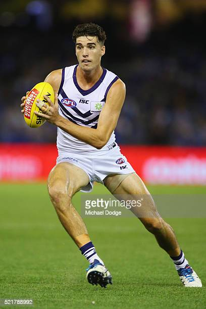 Alex Pearce of the Dockers looks upfield during the Round 4 AFL match between North Melbourne v Fremantle at Etihad Stadium on April 17 2016 in...