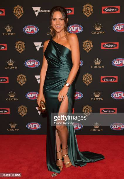 Alex Pendlebury the wife of Scott Pendlebury of the Magpies arrives ahead of the 2018 Brownlow Medal at Crown Entertainment Complex on September 24...