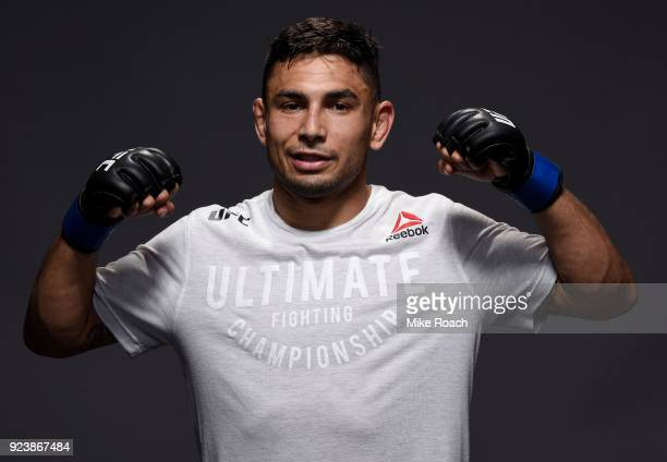 Alex Perez poses for a portrait backstage after his victory over Eric Shelton during the UFC Fight Night event at Amway Center on February 24 2018 in...