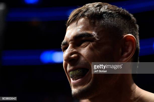 Alex Perez prepares to enter the Octagon before his flyweight bout against Eric Shelton during the UFC Fight Night event at Amway Center on February...