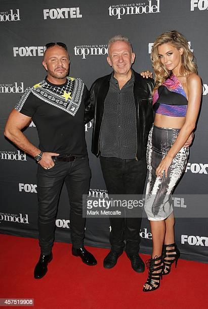 Alex Perry Jean Paul Gaultier and Jennifer Hawkins pose at Australia's Next Top Model Elimination Set on October 20 2014 in Sydney Australia
