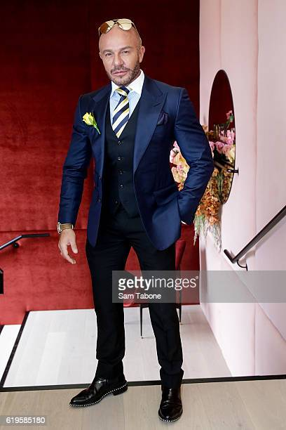 Alex Perry poses at the Myer Marquee on Melbourne Cup Day at Flemington Racecourse on November 1 2016 in Melbourne Australia