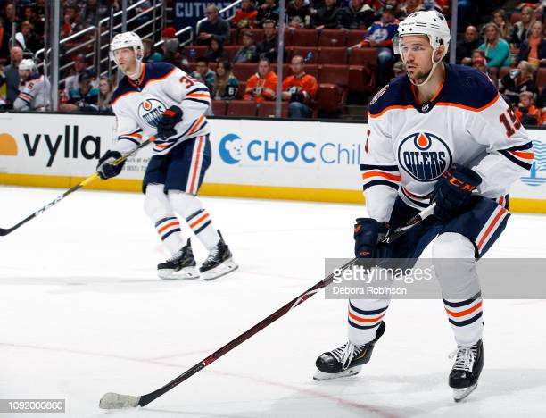 Alex Petrovic and Alex Chiasson of the Edmonton Oilers skate during the game against the Anaheim Ducks on January 6 2018 at Honda Center in Anaheim...