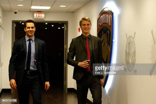 Alex Petrovic and Nick Bjugstad of the Florida Panthers arrive smiling for tonights game against the Boston Bruins at the BBT Center on April 5 2018...