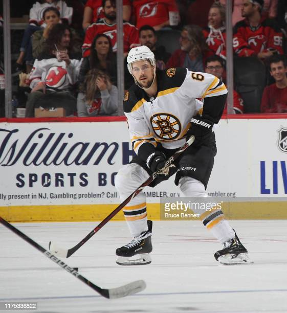 Alex Petrovic of the Boston Bruins skates against the New Jersey Devils during preseason action at the Prudential Center on September 16 2019 in...