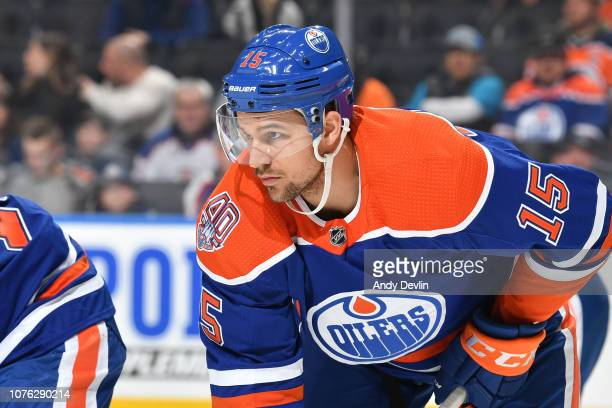 Alex Petrovic of the Edmonton Oilers lines up for a face off during the game against the Winnipeg Jets on December 31 2018 at Rogers Place in...