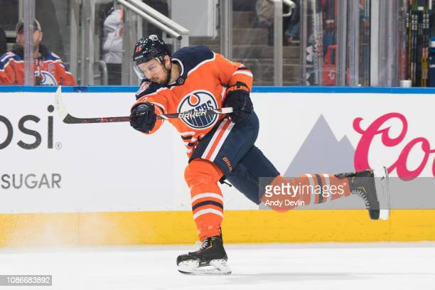Alex Petrovic of the Edmonton Oilers skates against the Detroit Red Wings on January 22 2019 at Rogers Place in Edmonton Alberta Canada