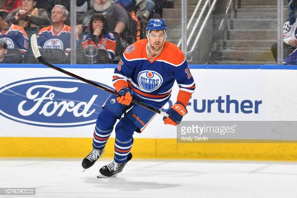 Alex Petrovic of the Edmonton Oilers skates during the game against the Winnipeg Jets on December 31 2018 at Rogers Place in Edmonton Alberta Canada