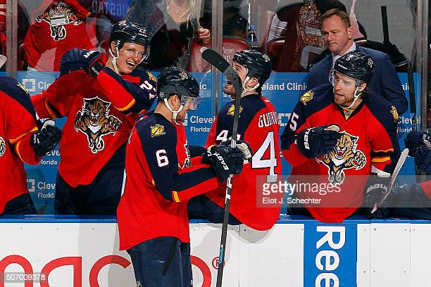 Alex Petrovic of the Florida Panthers celebrates his first NHL goal with teammates against the Toronto Maple Leafs at the BBT Center on January 26...