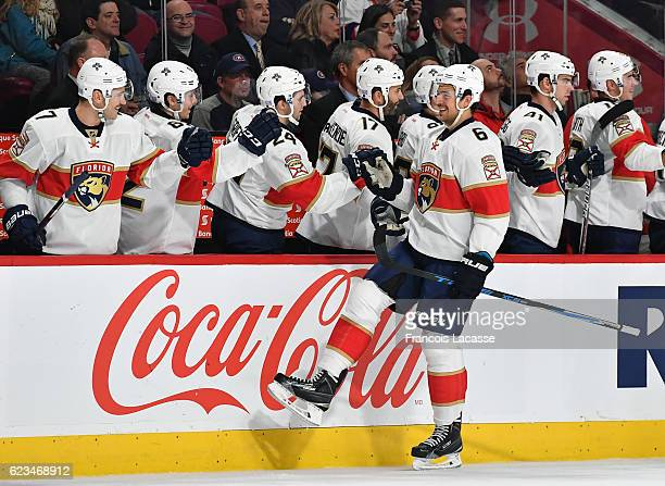 Alex Petrovic of the Florida Panthers celebrates with the bench after scoring a goal against the Montreal Canadiens in the NHL game at the Bell...