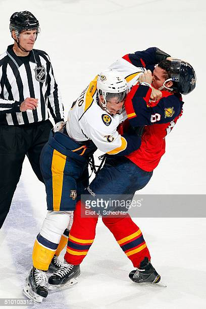 Alex Petrovic of the Florida Panthers fights with Anthony Bitetto of the Nashville Predators at the BBT Center on February 13 2016 in Sunrise Florida