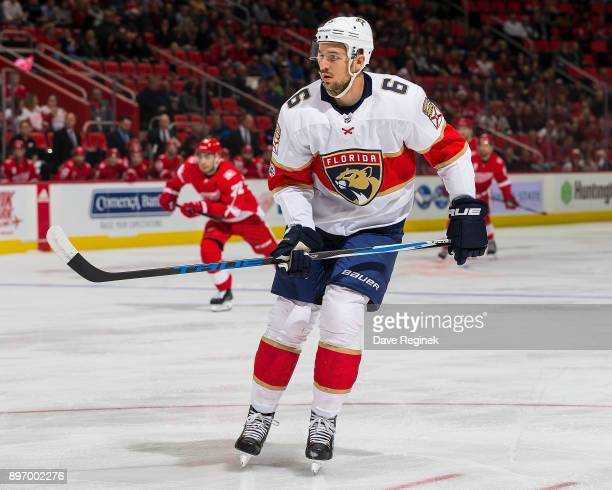 Alex Petrovic of the Florida Panthers follows the play against the Detroit Red Wings during an NHL game at Little Caesars Arena on December 11 2017...