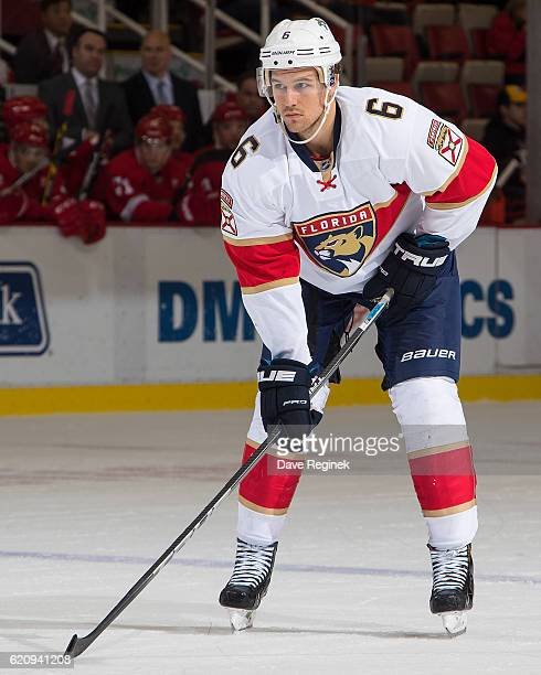 Alex Petrovic of the Florida Panthers gets set for the faceoff during an NHL game against the Detroit Red Wings at Joe Louis Arena on October 30 2016...